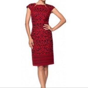 Tadashi Shoji Crewel Embroidery on Tulle  Dress